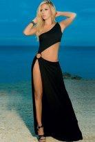 Metal Aksesuarlı Uzun Siyah Elbise