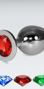Kırmızı Büyük boy metal anal plug