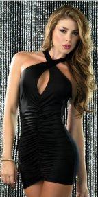 Sırt Dekolteli Mini Siyah Ebise
