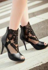 Parti ve Gece Platform Deri Stiletto Ayakkabı