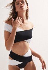 Siyah Beyaz Çapraz Bikini Alt