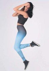 Çizgili Mavi Sporcu Kadın Tayt