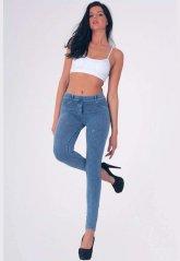 Mavi Pantolon Görünümlü Kadın Tayt