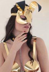 Gold Deri Tavşan Kız Fantazi Maske