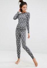 Gri Yıldız Desenli Şık Pijama Takımı