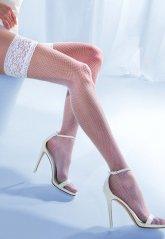 Jartiyer Çorabı Beyaz File Dantelli Silikonlu