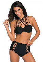 Siyah Şık Yüksek Bel Bikini Takım
