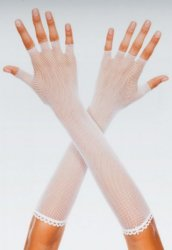 Beyaz Yarım Parmak File Uzun Eldiven