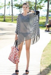 Siyah Beyaz Şık Plaj Elbisesi Pareo