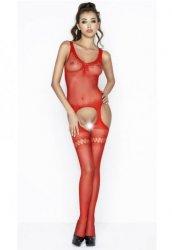 Özel Bölgesi Açık Transparan Kırmızı Vücut Çorabı