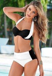 Siyah Beyaz Şık Tasarımlı Bikini