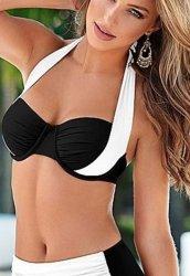 Siyah Beyaz Şık Bikini Üst