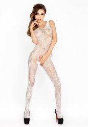 Desenli Özel Bölgesi Açık Beyaz Fantazi Vücut Çorabı