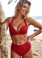 Kırmızı Yuksek Bel Bikini Takım