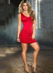 Sırt Dekolteli Fantazi Elbise Kırmızı