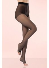 Külotlu Çorap Şeffaf Burnu Açık Siyah