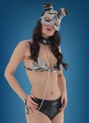 Mite love deri rabbit maskeli fantazi iç giyim 4lü set