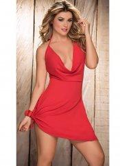 Sırt ve Göğüs Dekolteli Fantezi Kırmızı Elbise