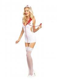 Sexy Jartiyerli Hemşire Kız Kostümü