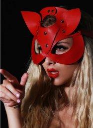Kırmızı Deri Fantazi Maske