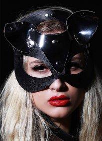 Nokta Shop Siyah Deri Kedi Kız Fantazi Maske