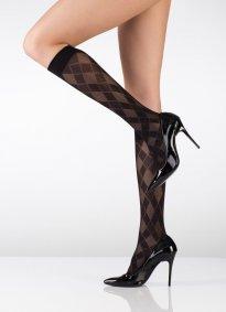 Ekoseli Dizaltı Çorap Siyah