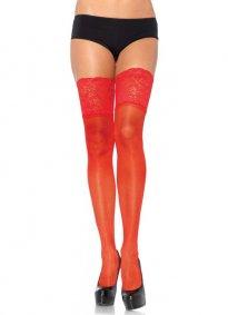 Geniş Dantelli Jartiyer Çorabı Kırmızı