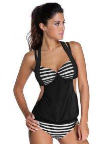 Siyah Beyaz Cizgili Kaplı Tankini Bikini Takım