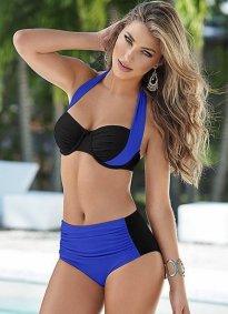 Kaplı Mavi Siyah Şık Yüksek Bel Bikini