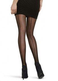 Simli Çizgi Külotlu Çorap Siyah