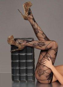 Seksi Gül Desenli Külotlu Çorap