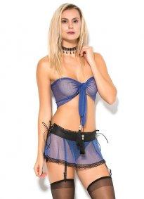 Fantazi İç Giyim Jartiyerli Mavi Takım