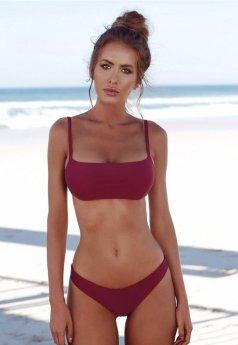Angelsin Bordo Şık Bikini Takım