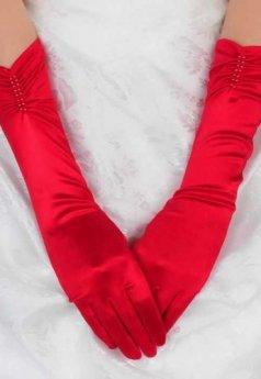 Merry See Kırmızı Uzun Saten Eldiven