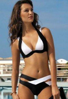 Siyah Beyaz Özel Tasarım Bikini