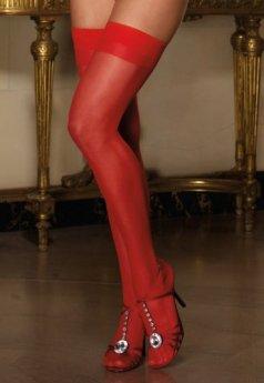 Kırmızı Dantelsiz Jartiyer Çorabı