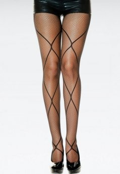 Çapraz Desenli Sexy Külotlu Çorap
