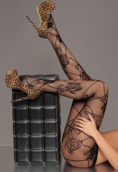 Merry See Seksi Gül Desenli Külotlu Çorap