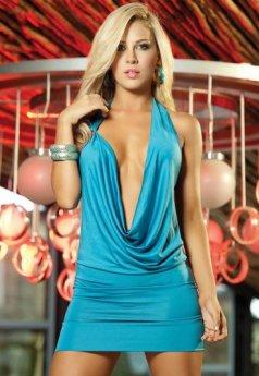 Şık Mavi Seksi Elbise