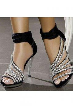 Deri Stiletto Taşlı Platform Ayakkabı
