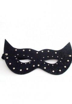 Siyah Parlak Deri Fantezi Maske