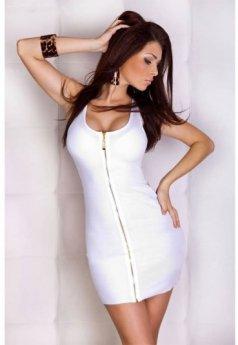 Beyaz Fermuarlı Şık Mini Elbise