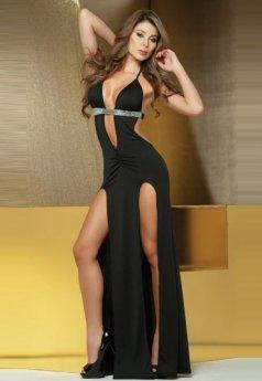 Sırt Dekolteli Siyah Uzun Şık Gece Elbisesi