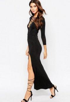 Şık Bacak Dekolteli Siyah Uzun Elbise