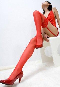Kırmızı Silikonlu Dantelli Jartiyer Çorap