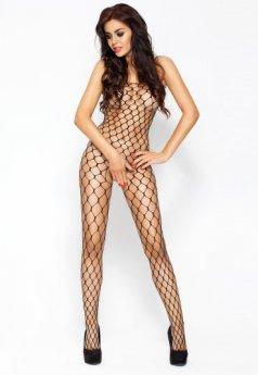 Özel Bölgesi Açık Fileli Siyah Vücut Çorabı
