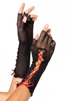 Siyah Dantel Kırmızı İpli Eldiven