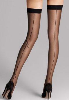 Siyah Düz Özel Tasarım Jartiyer Çorap