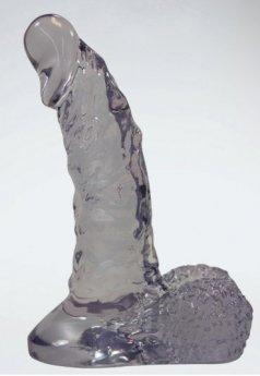Şeffaf 17.6 Cm jel Formunda Damarlı ve Vakumlu Realistik Penis
