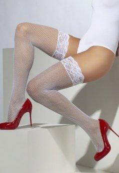 Beyaz Üstü Dantel Fileli Jartiyer Çorap